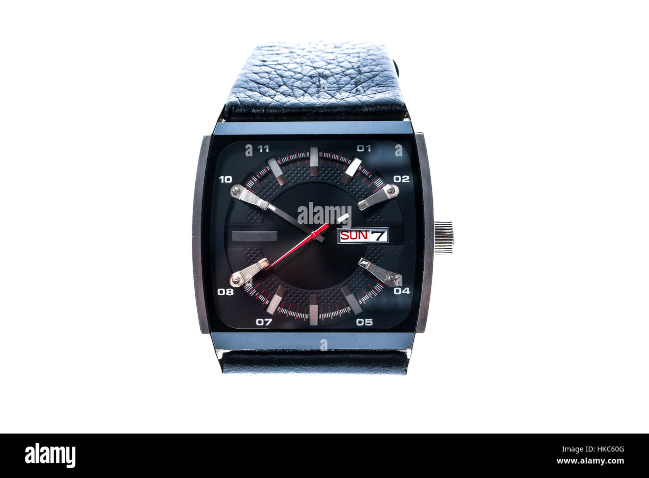 Mens luxury square swiss mechanical wrist watch with leather wristband strap. Chronograph or tachometer isolated - Stock Image