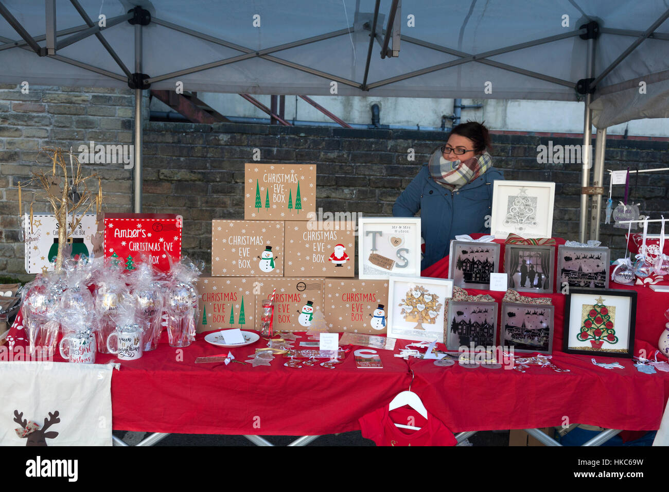 Stall at Totally Locally market, Sowerby Bridge, West Yorkshire - Stock Image