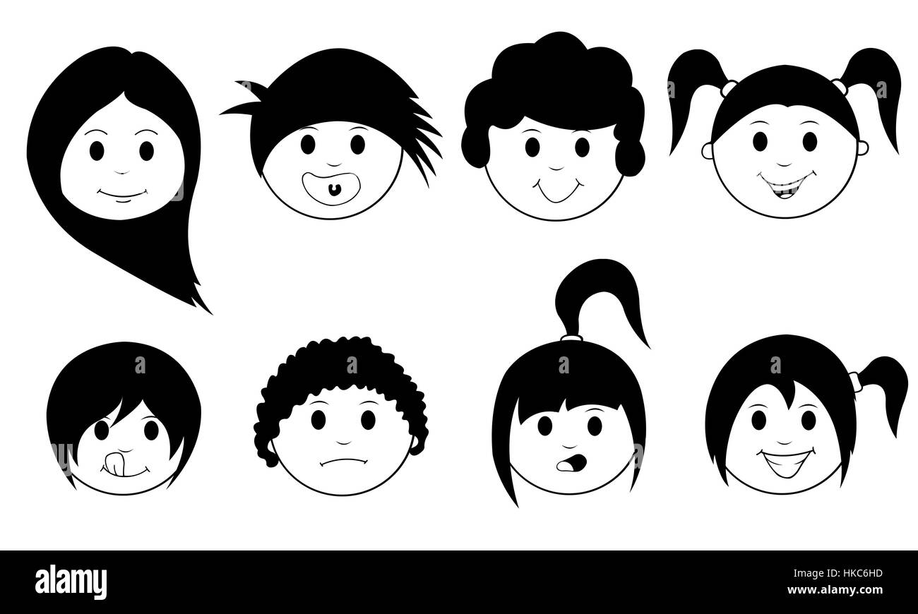 set of kids faces isolated on white - Stock Image