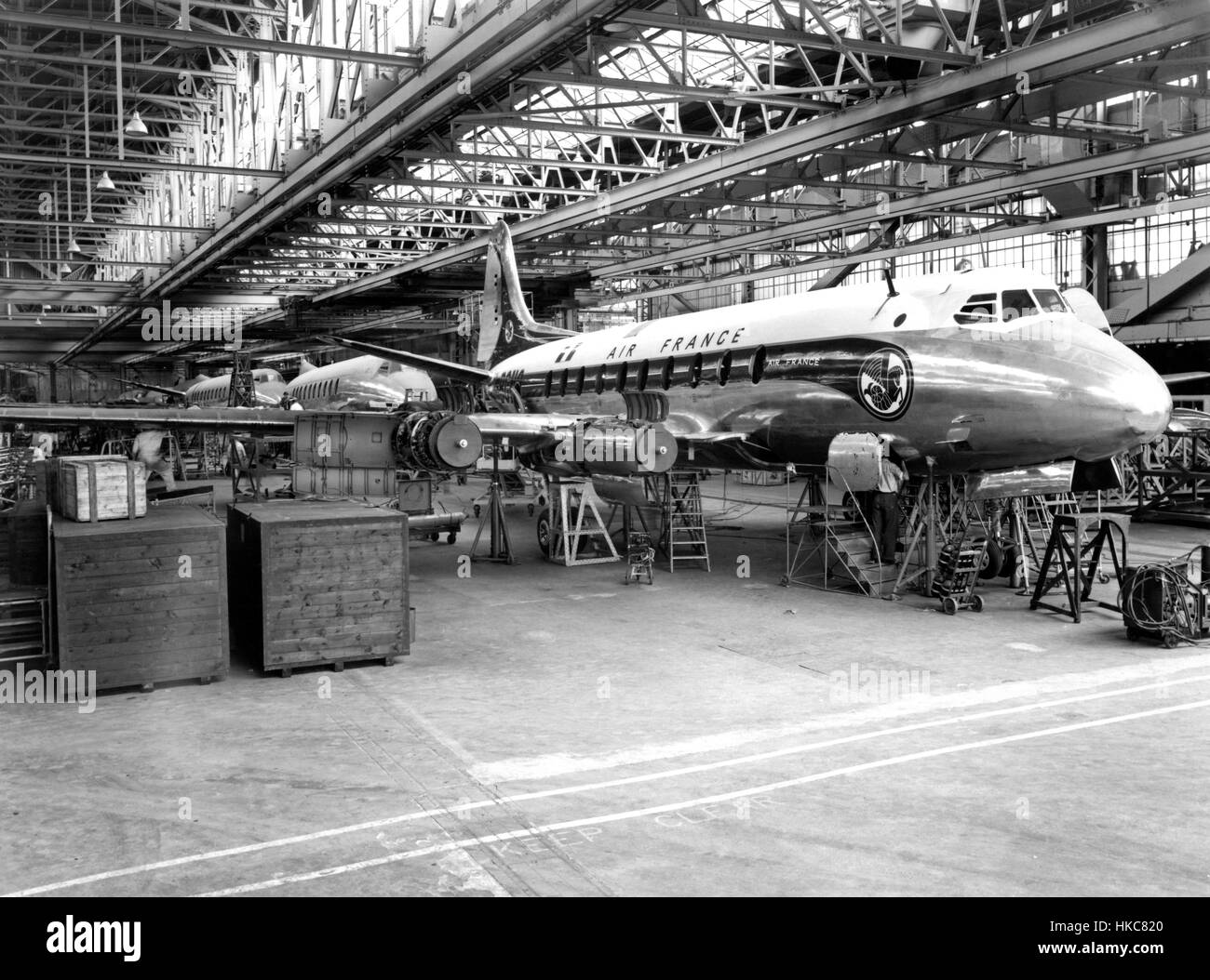 Vickers Armstrong Viking under construction, 1940s 1950s. Vickers-Armstrong Viscount under construction in an Aircraft - Stock Image