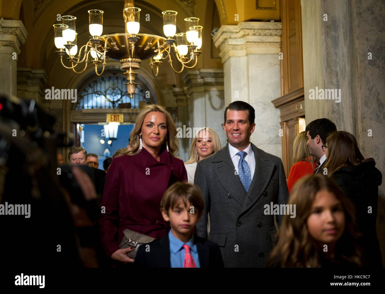 U.S. presidential son Eric Trump and wife Vanessa Trump arrive at the U.S. Capitol with his family for the 58th - Stock Image