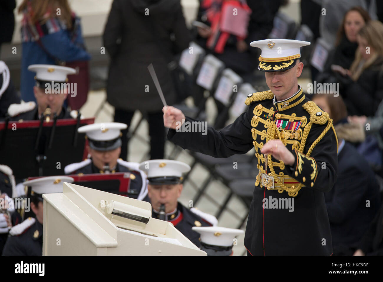 The U.S. Marine Corps Band plays music during the 58th Presidential Inauguration at the U.S. Capitol Building January - Stock Image