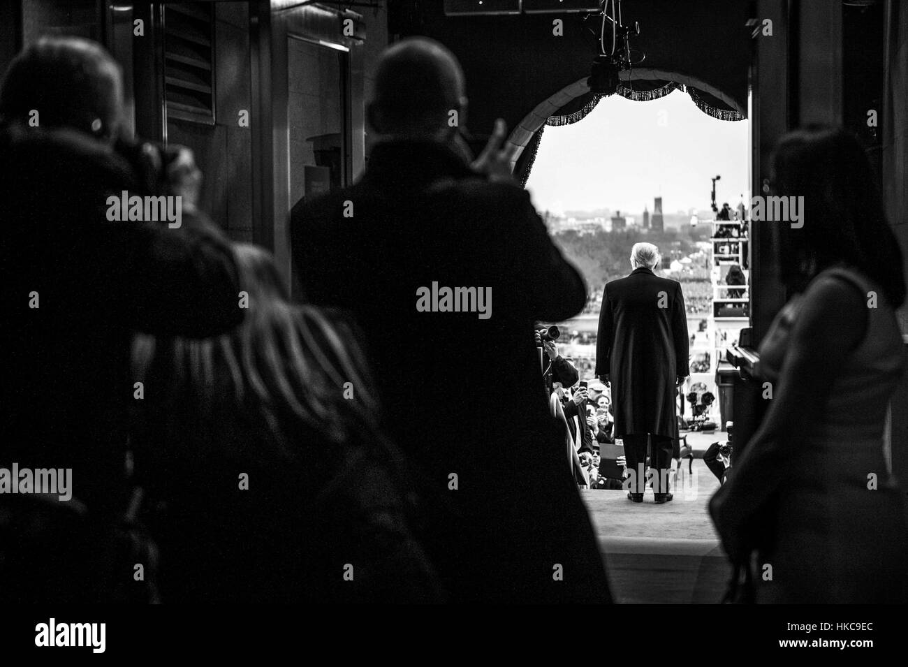 U.S. President Donald Trump walks out from the U.S. Capitol during the 58th Presidential Inauguration January 20, - Stock Image