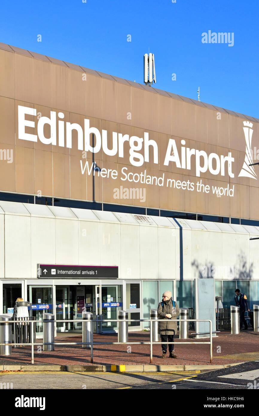 Edinburgh Airport Scotland uk travel large sign logo terminal Scottish transportation building above entrance to - Stock Image