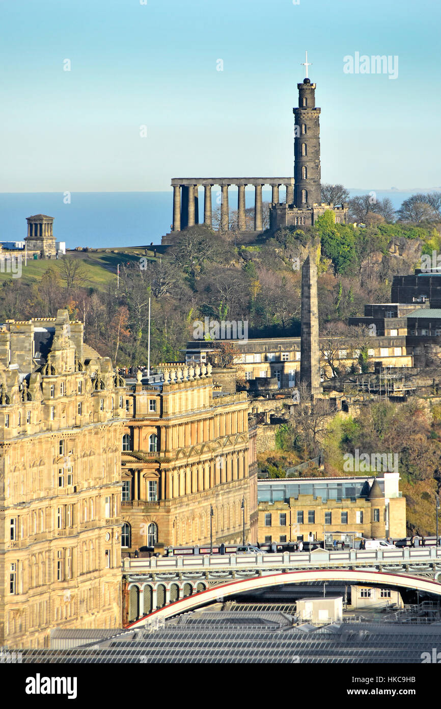 Edinburgh skyline on Calton Hill with Political Martyrs Monument, Nelson Monument, & unfinished National Monument Stock Photo