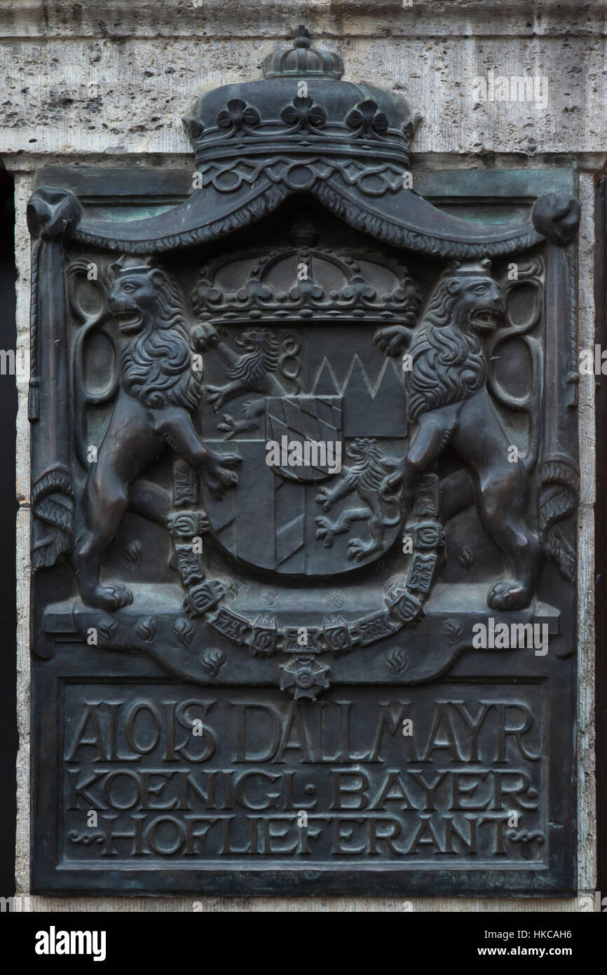 Coat of arm of Kingdom of Bavaria depicted in the historical sign of the Stammhaus Dallmayr in Munich, Bavaria, - Stock Image