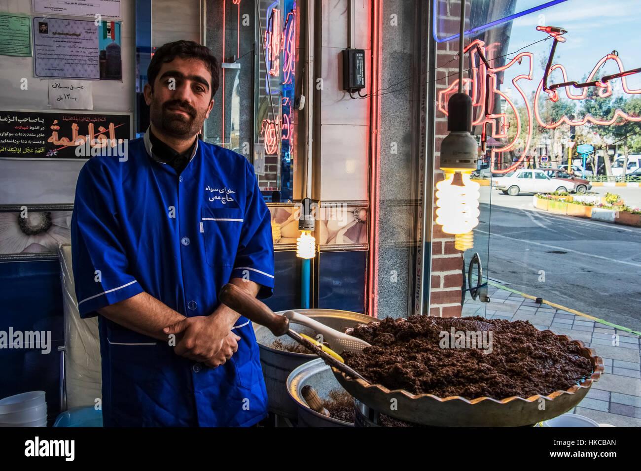 Ardabil black halva vendor; Ardabil, Iran - Stock Image