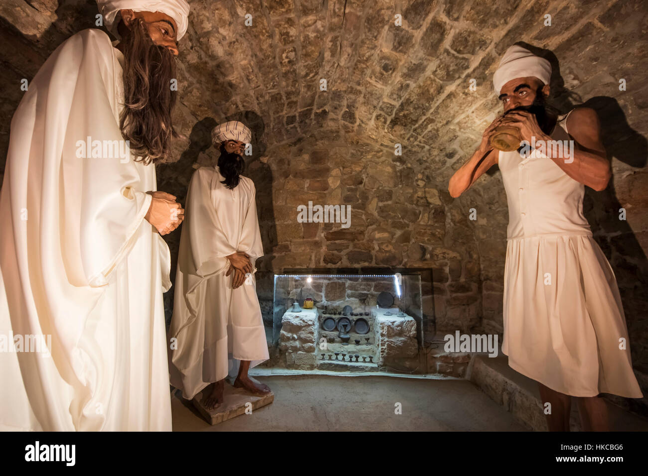 Mannequins of Zoroastrian priests in the Atashgah Temple or Fire Temple of Baku, a Hindu and Zoroastrian place of Stock Photo