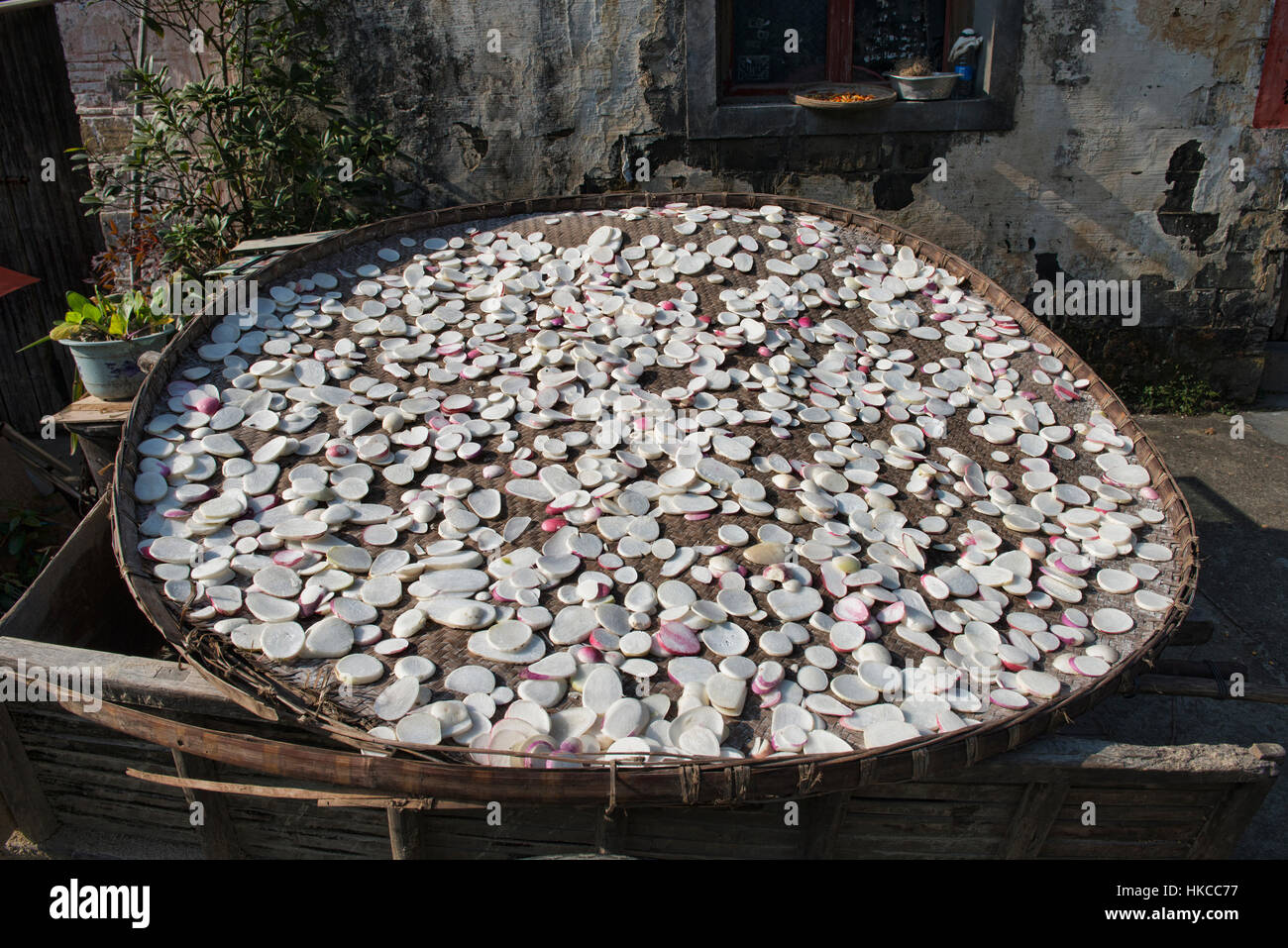 Daikon radishes drying in the ancient village of Xidi, Anhui, China - Stock Image