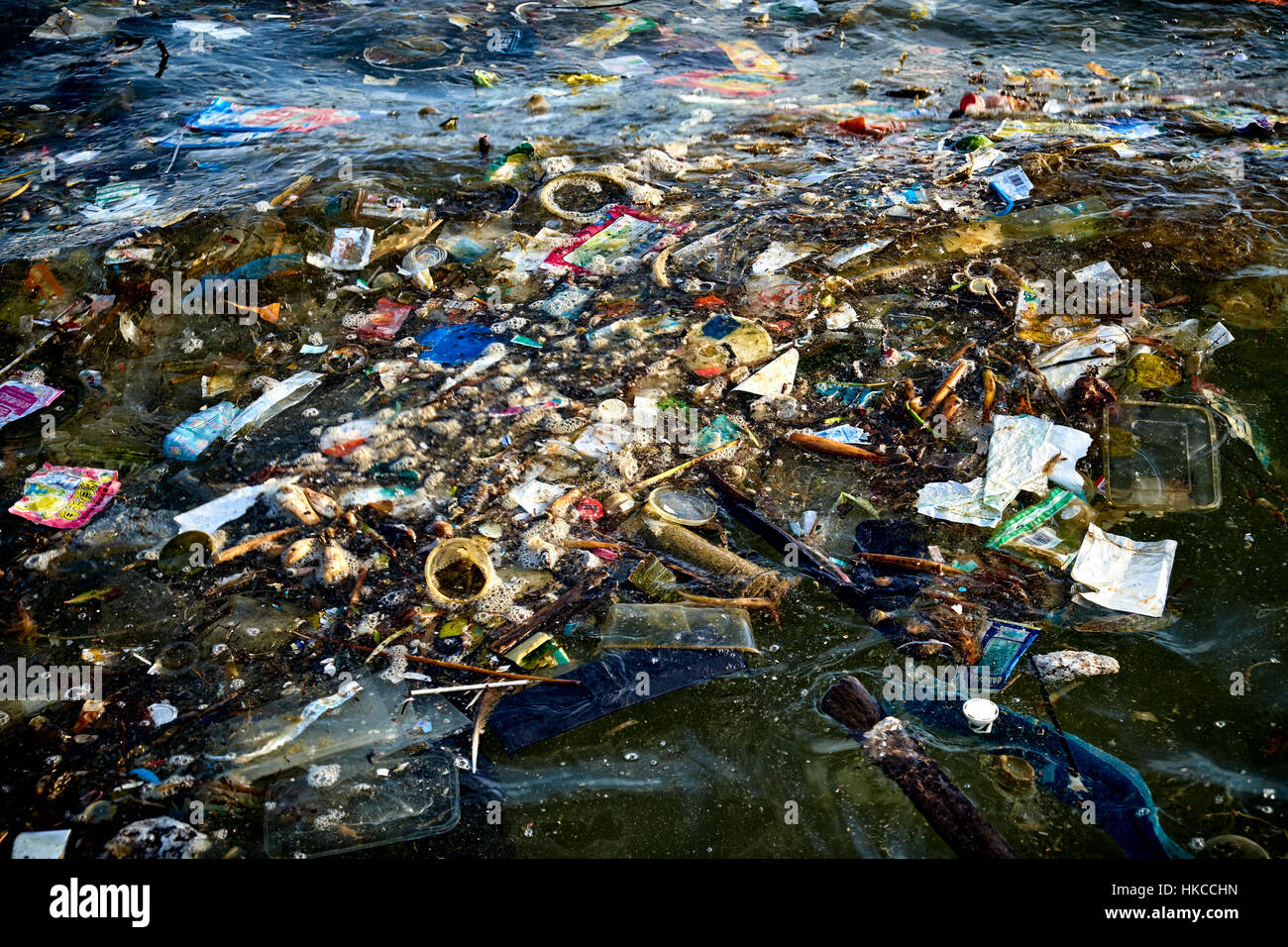HONG KONG - MAY 25: Marine pollution around Hung Shing Ye beach on Lamma Island just off Hong Kong on May 25, 2014. - Stock Image