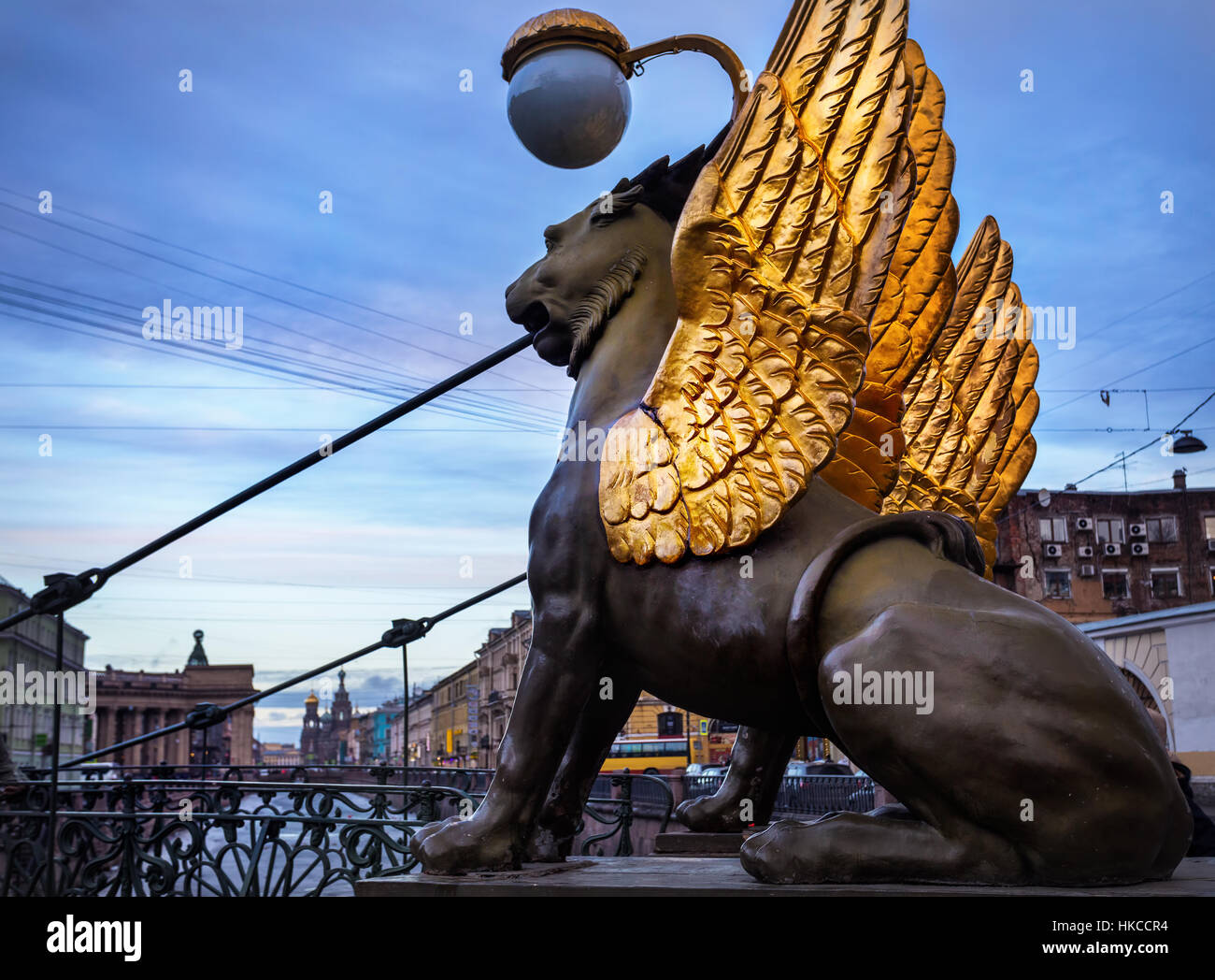 Griffins with golden wings on the Bank Bridge in Saint Petersburg, Russia - Stock Image