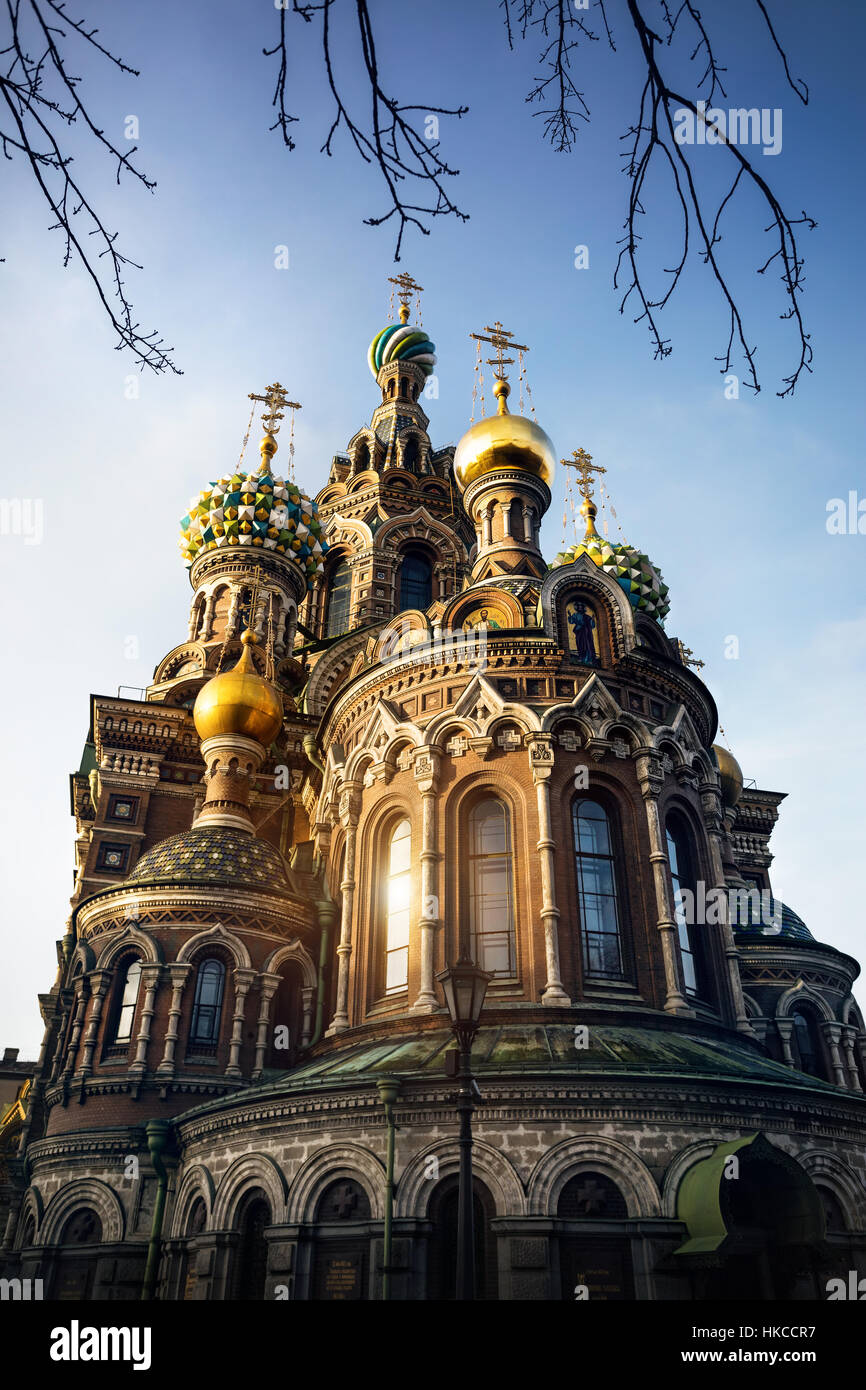 Dome and Crosses of Church Savior on Spilled Blood Saint Petersburg, Russia - Stock Image