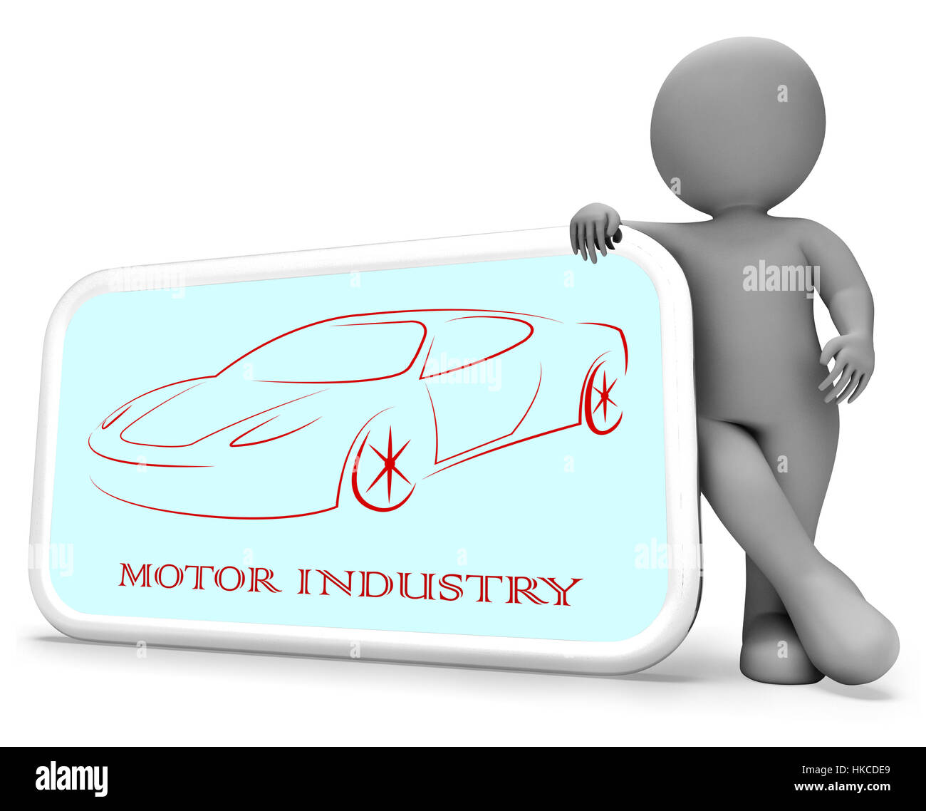 Motor Industry Phone Representing Industries Manufacture And Automobile 3d Rendering - Stock Image
