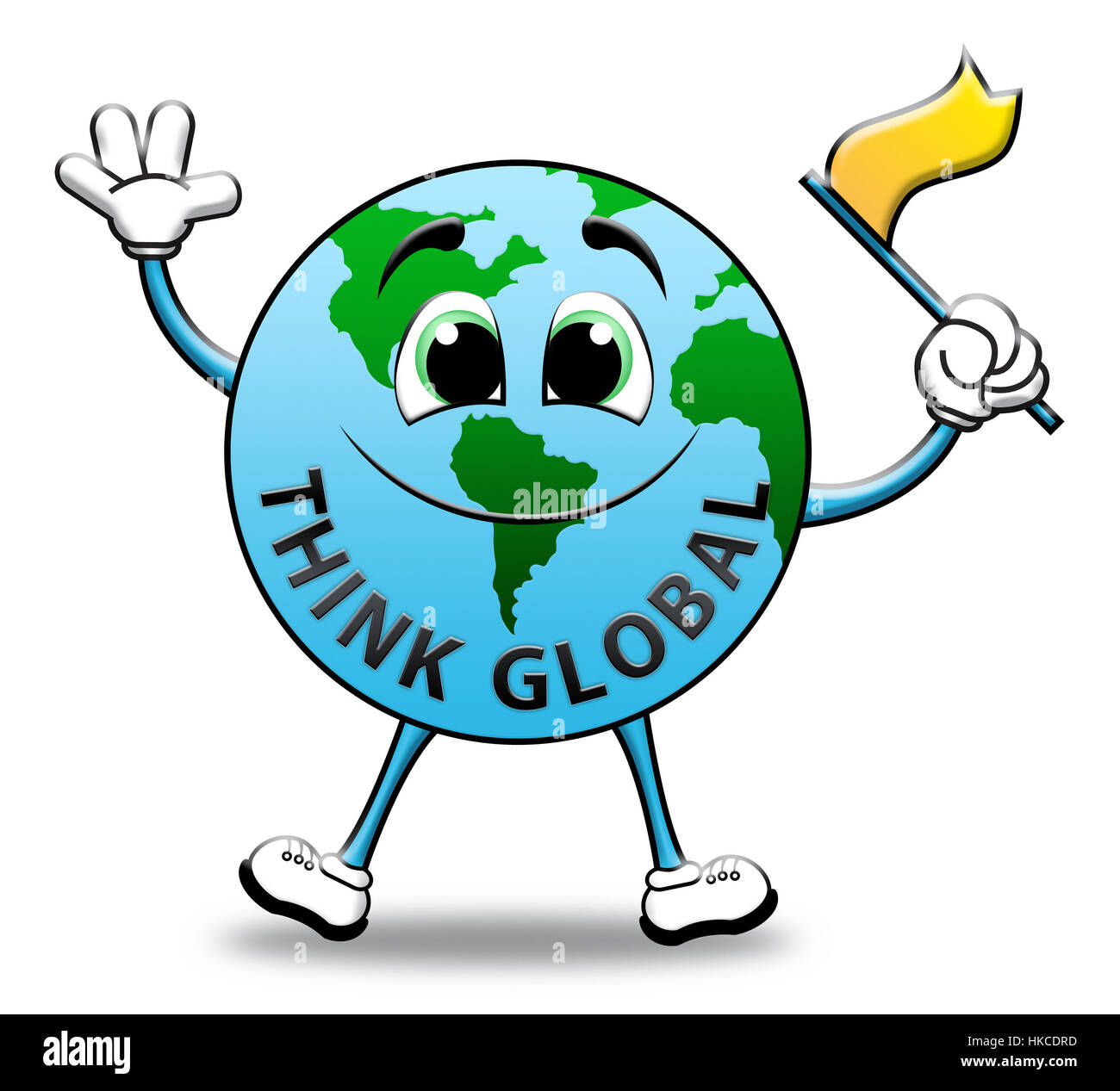 Think Global Globe Character Means Contemplating Earth 3d Illustration - Stock Image