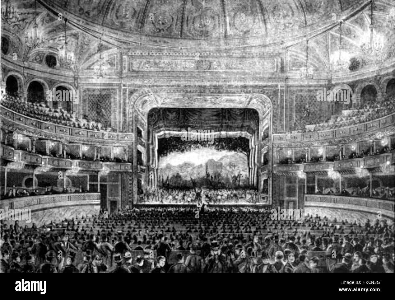 Teatro dal Verme Interior Circa 1875 - Stock Image