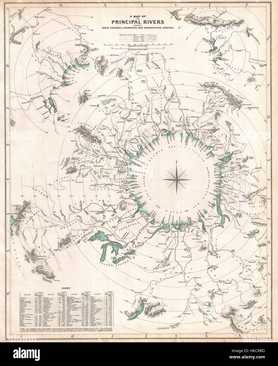 1834 S.D.U.K. Comparative Map or Chart of the World's Great Rivers   Geographicus   ComparativeRivers sduk 1834 Stock Photo