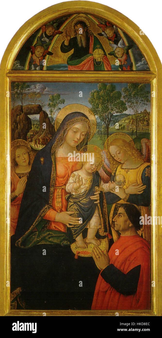 Pinturicchio, madonna della pace, 1490 circa. 143x70 cm, sanseverino marche, pinacoteca civica Stock Photo