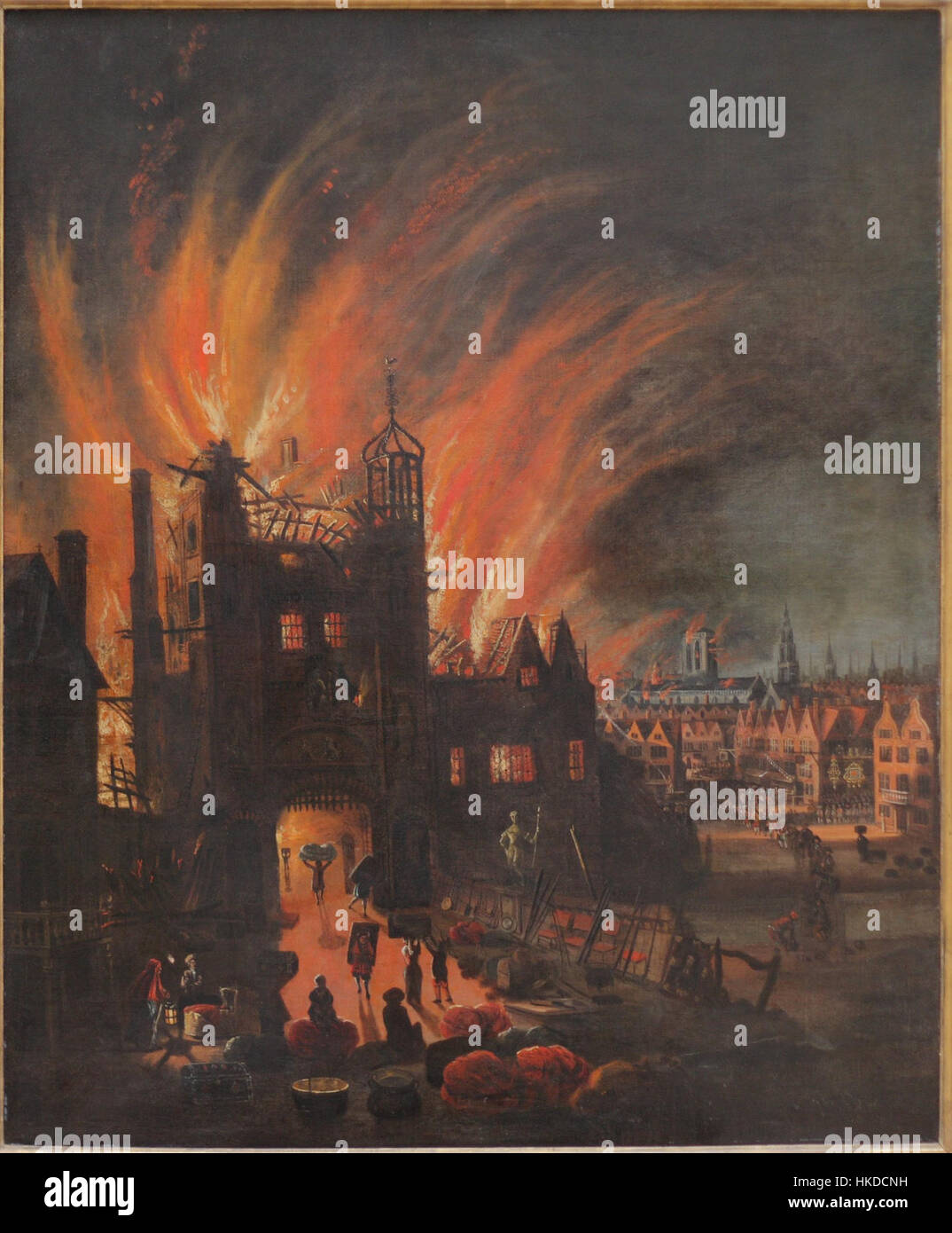 The great fire of london with ludgate and old st pauls