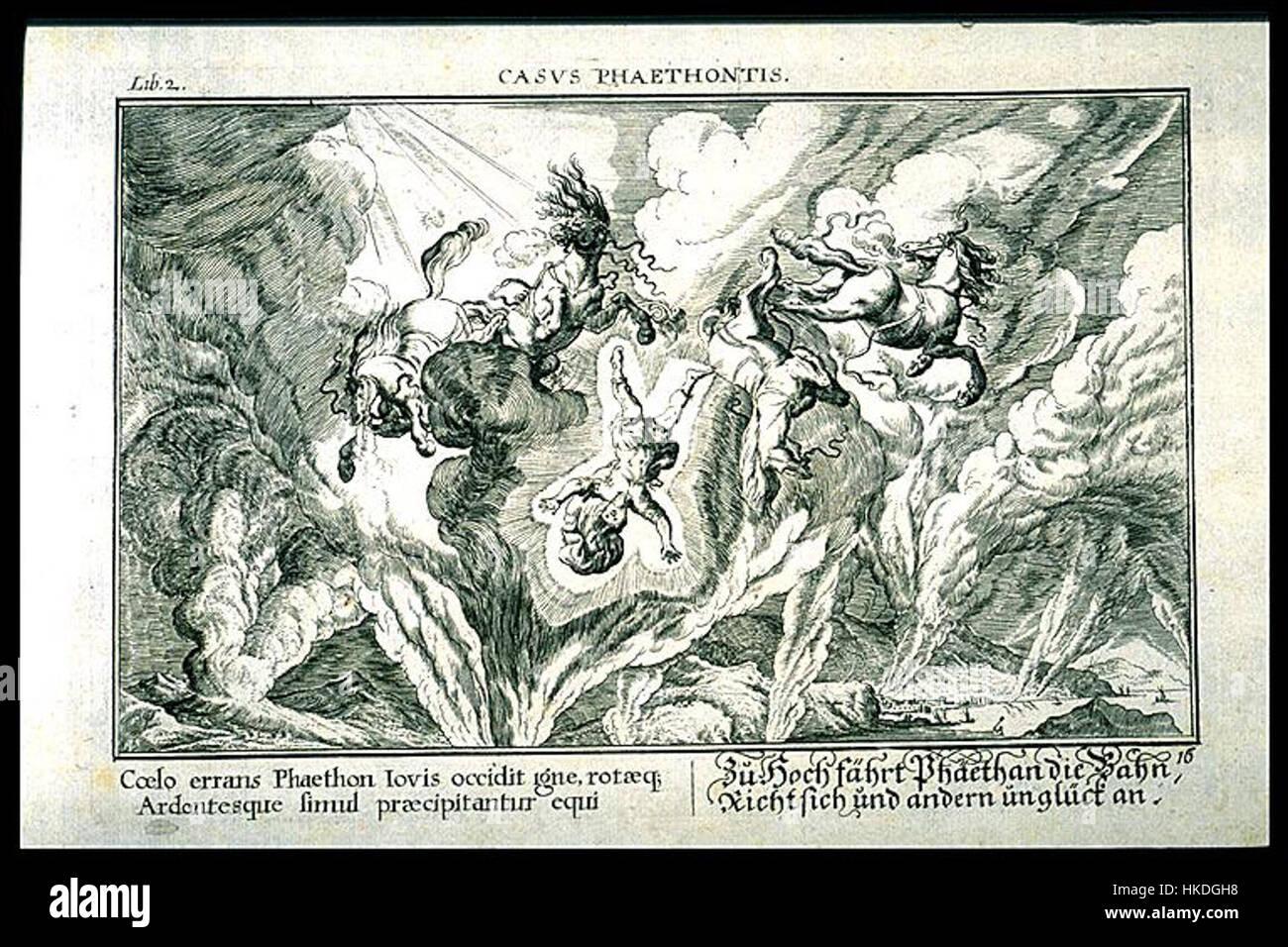 Cycnos e Fetonte 1703 Inc di Johann Whilhelm Bauer (1600 1640) per un'