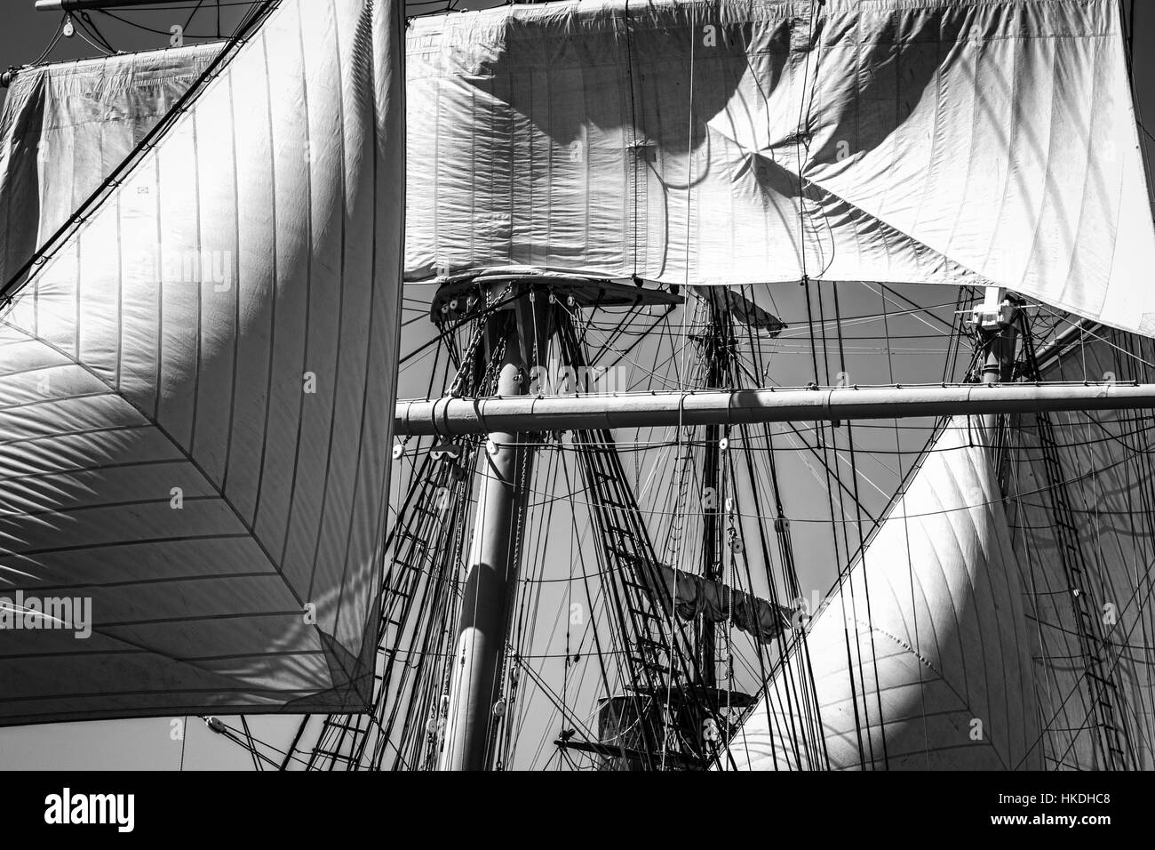 Ship masts during the 2015 Festival of Sail in San Diego, CA. - Stock Image