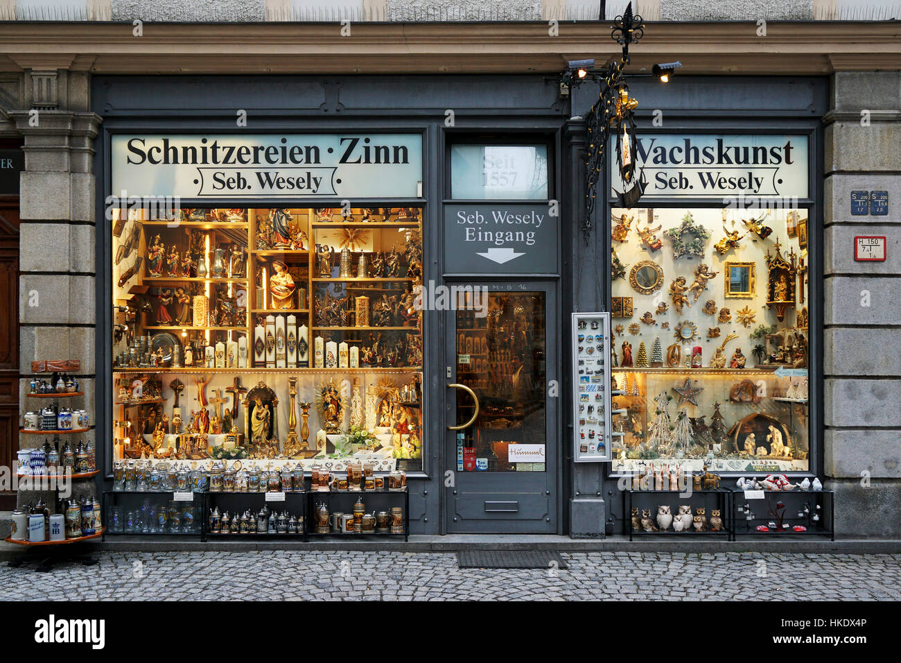 Shop with devotional objects and souvenirs, St. Peter's Square, Munich, Bavaria, Germany - Stock Image