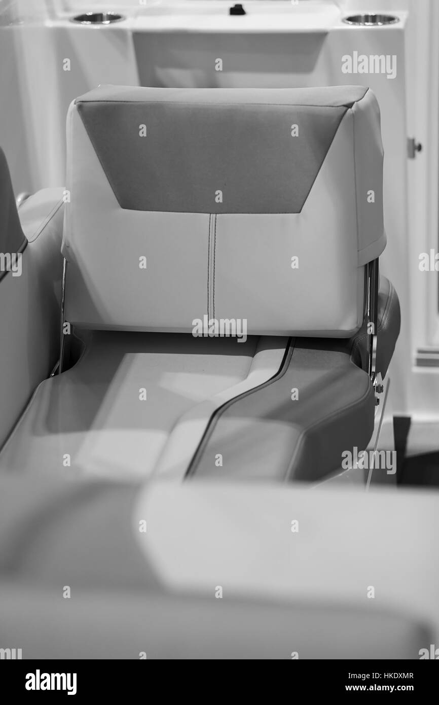 the part of the interior of a speedboat , note shallow depth of field Stock Photo