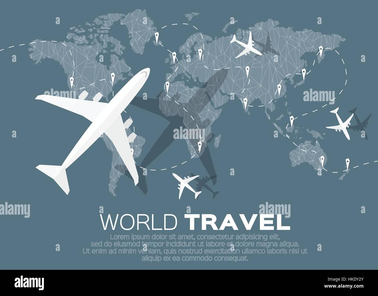 Travel world map background in polygonal style with top view stock travel world map background in polygonal style with top view airplane vector illustration design gumiabroncs Images