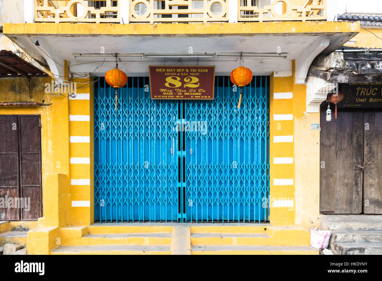 HOI AN, VIETNAM - FEBRUARY 7, 2016: A colorful facade in Hoi An old town. The city in central Vietnam was an important - Stock Image
