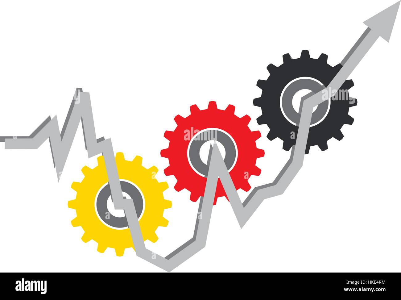 The economic and social upturn in Germany. Economic crisis and the economic upturn in Germany. Stock Vector