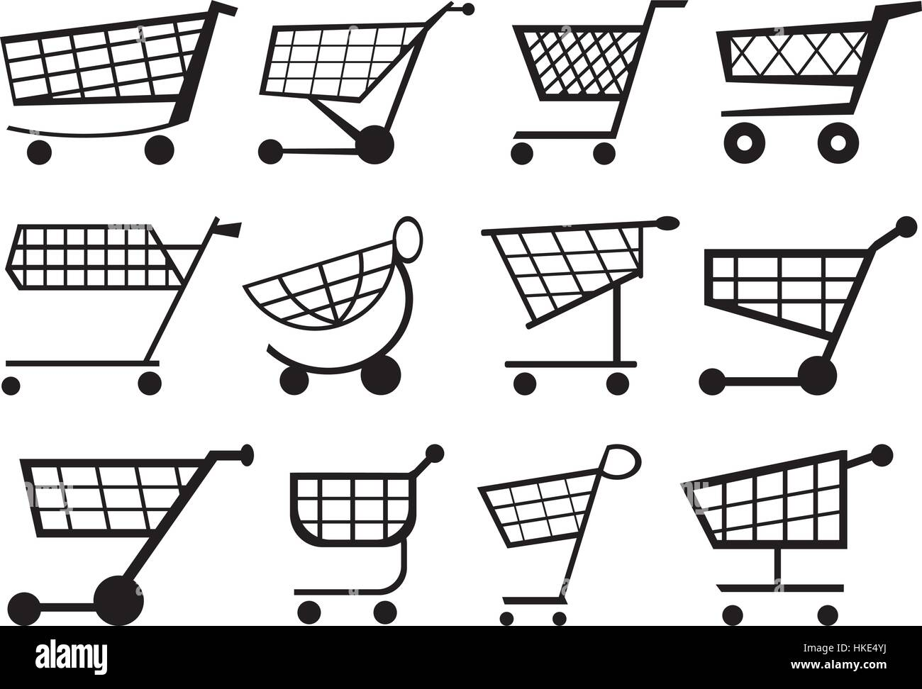 Shopping cart as vector graphic. Visit one or more stores or websites to buy goods. - Stock Image