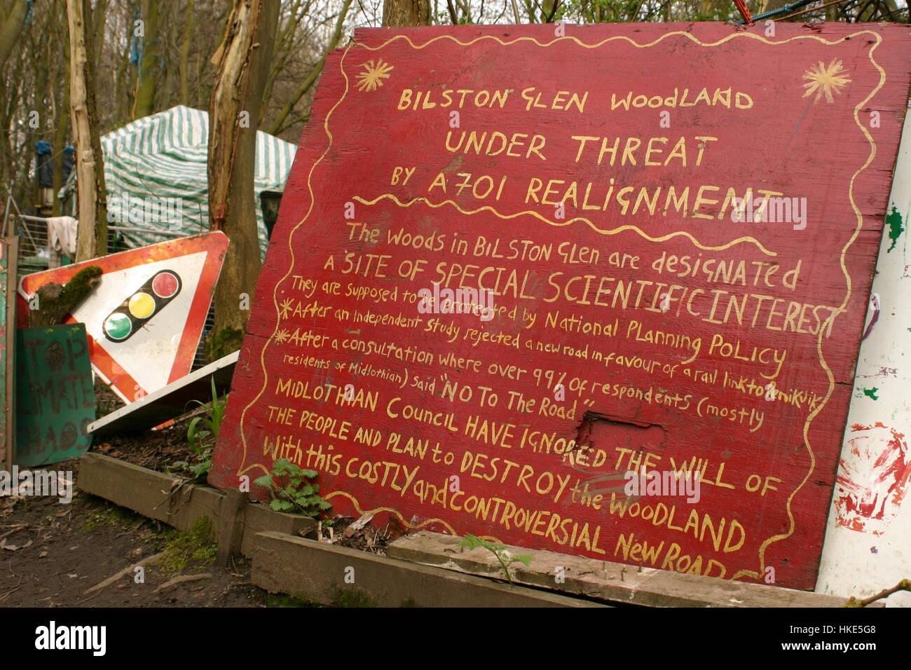 Signs at bilston Glen, Scotland, protest site Stock Photo