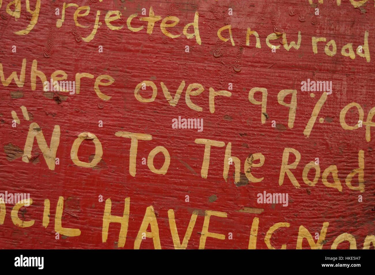Signs at bilston Glen, Scotland, protest site - Stock Image