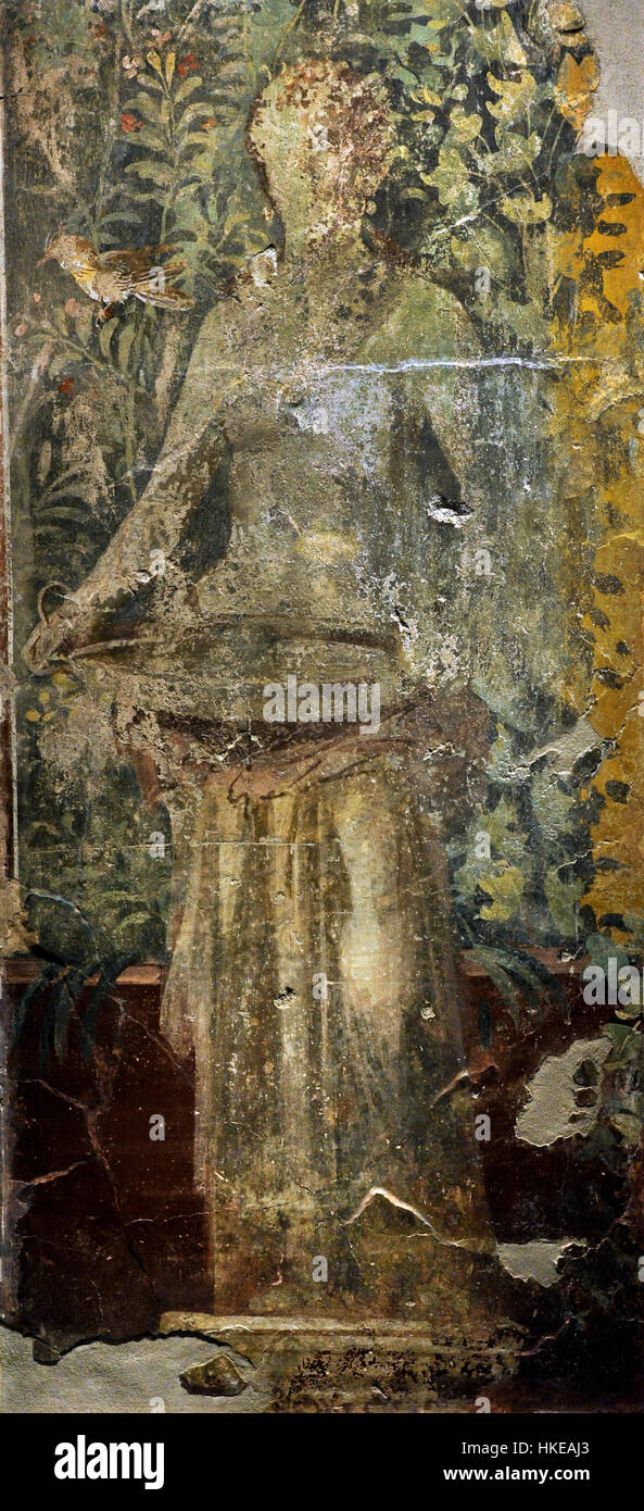 Garden with statue of a woman holding a basin. From the Vesuvian area. First half of 1st century AD. Fresco. National - Stock Image