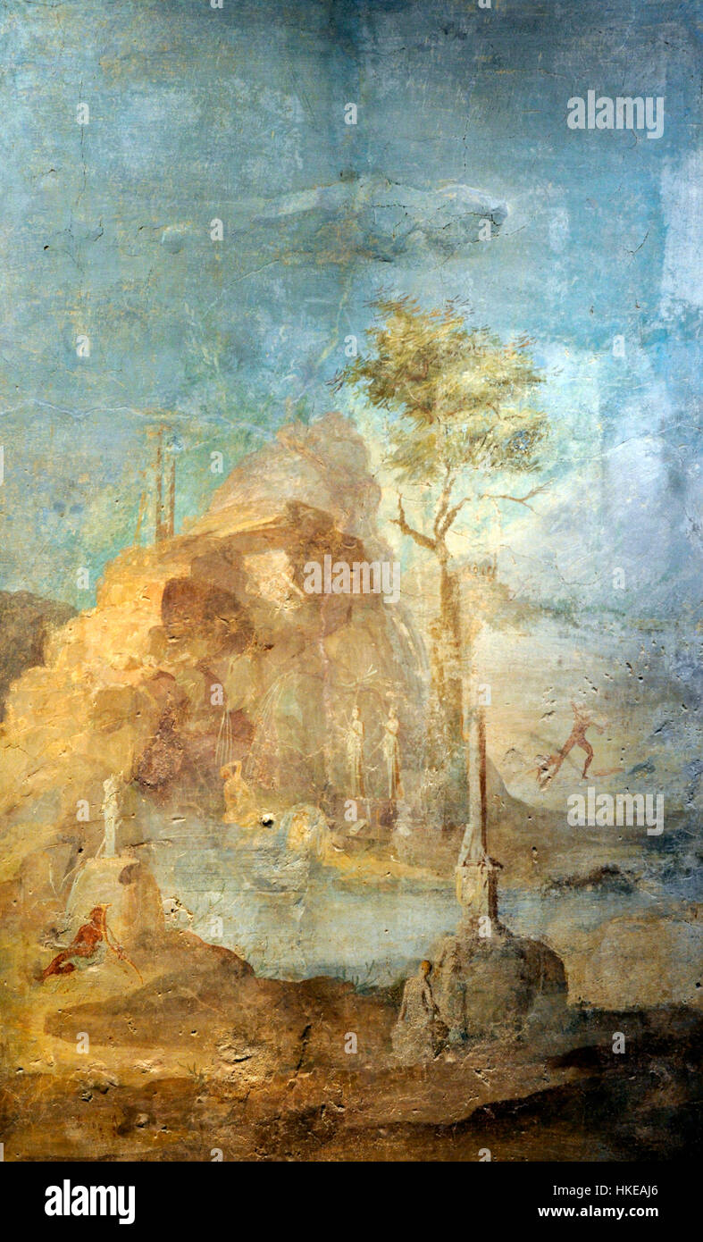 Landscape with the myth of Actaeon. Fresco. From the Vesuvian Area. 25-45 AD. National Archaeological Museum. Naples. - Stock Image
