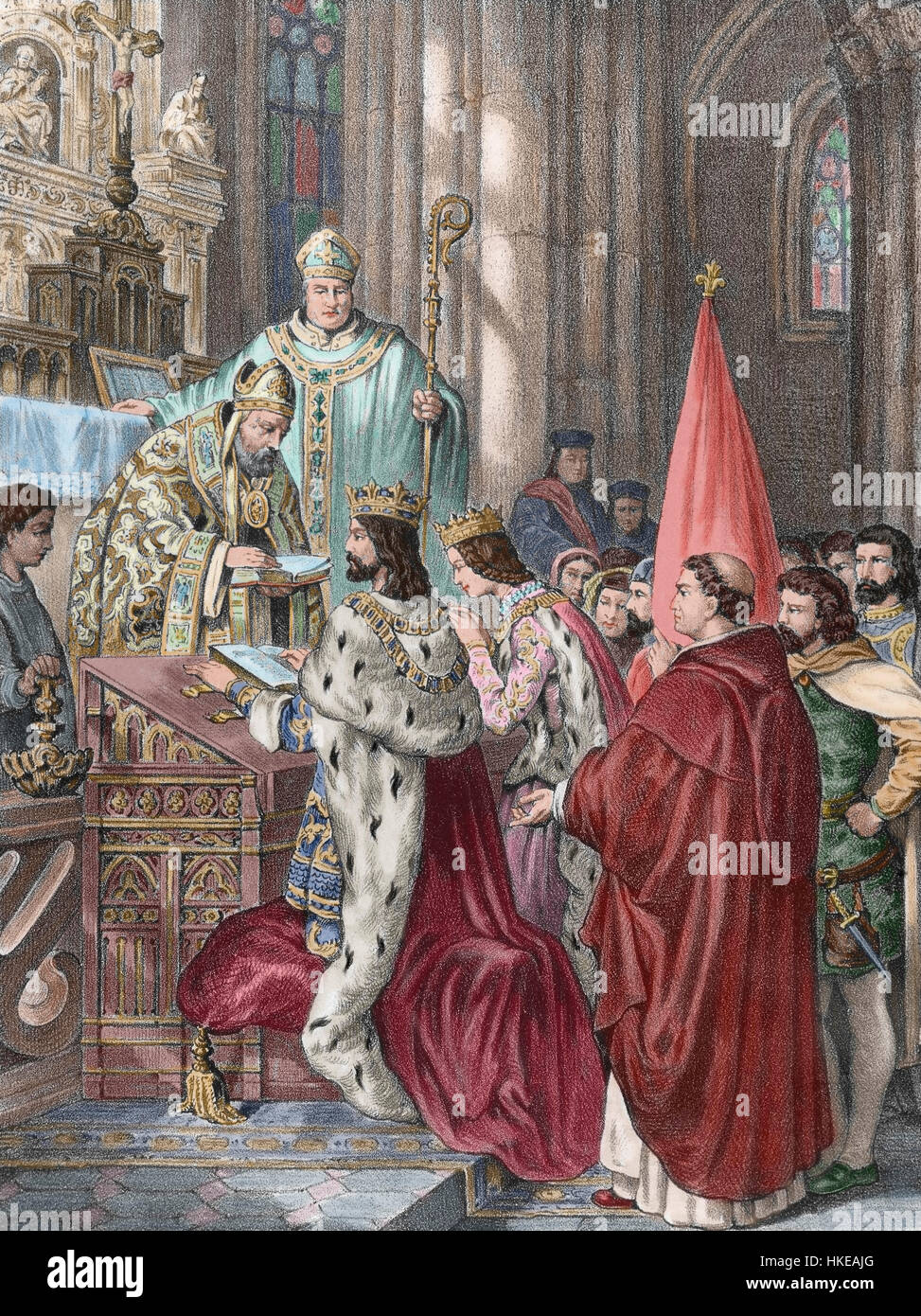 Alfonso III (c.848-910). Called the Great. King of Asturias. Wedding between king Alfonso and Jimena of Pamplona - Stock Image