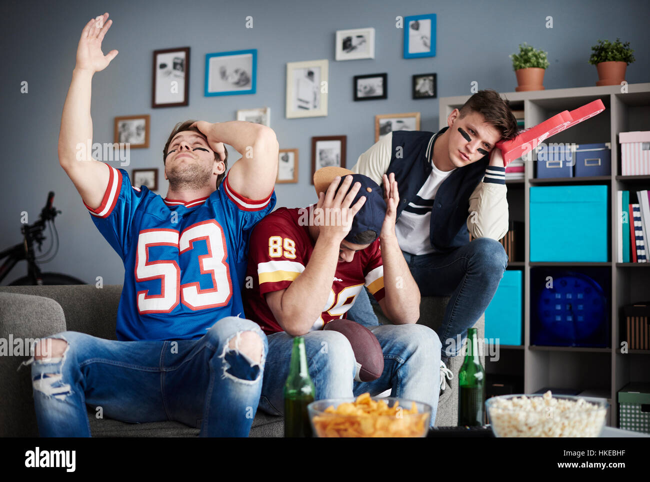 Scene of totally disaster during football game - Stock Image