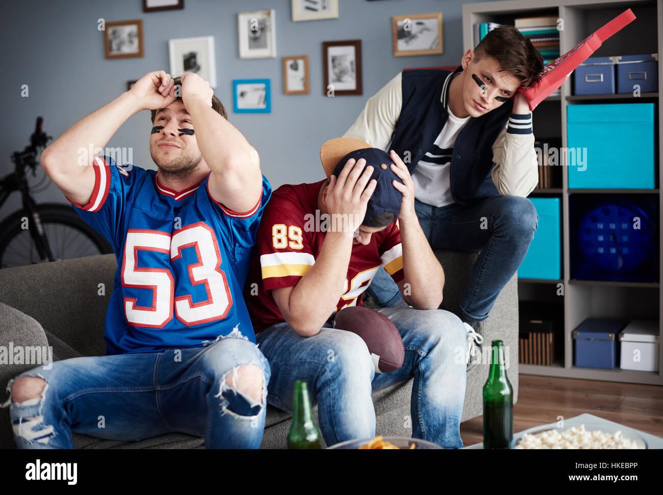 Scene of disbelief three men - Stock Image