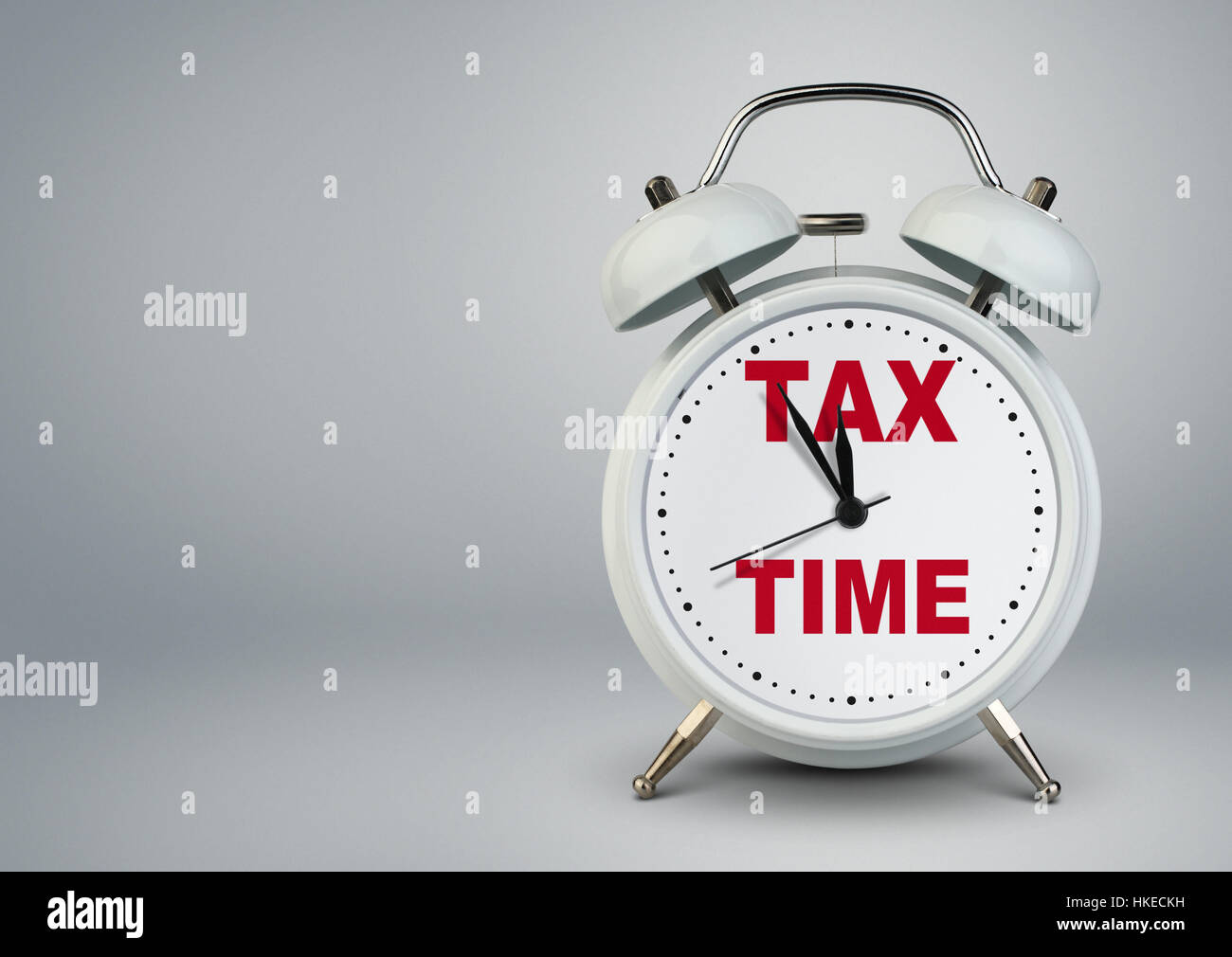 Alarm clock with copy space, tax time concept - Stock Image