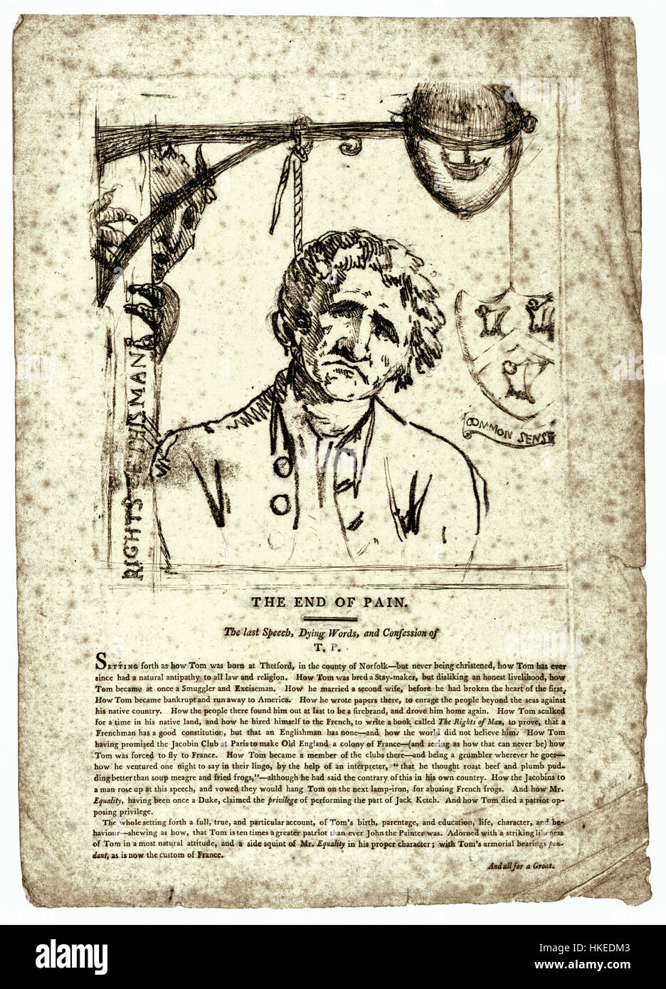 'The End of Pain' satirical print showing Thomas Paine (1736-1809)  English-American political writer, revolutionary and one of the founding  fathers of the ...