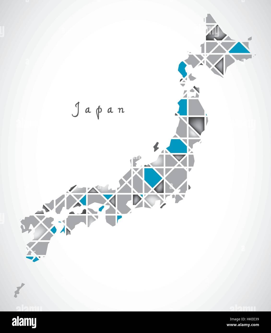 Japan Map crystal diamond style artwork illustration Stock Vector