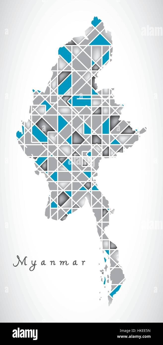 Myanmar Map crystal diamond style artwork illustration - Stock Vector