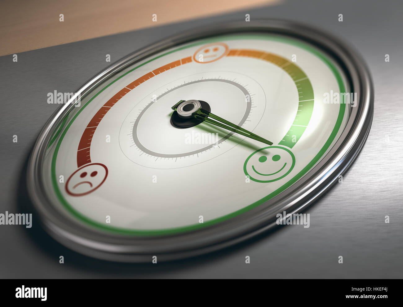 Conceptual 3D illustration of a gauge with needle pointing to the maximum satisfaction icon, horizontal image. Customer Stock Photo