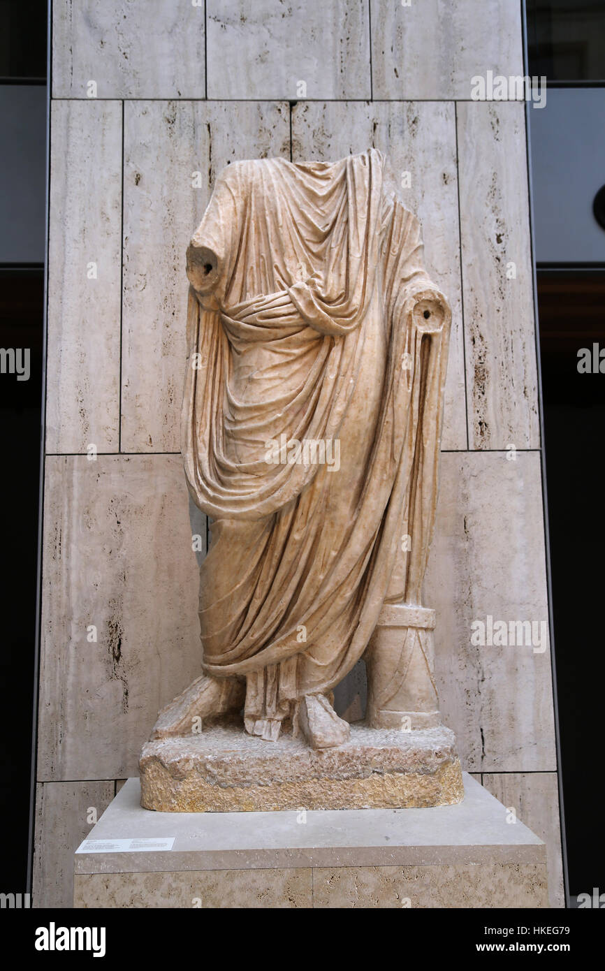 Togate figure. Marble. 1st century. Baelo Claudia, Spain. He served as a municipal magistrate. - Stock Image