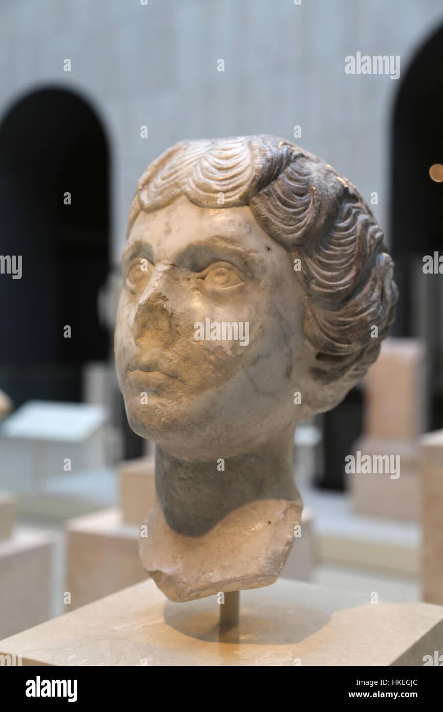 Faustina Minor (130-176. Empress consort of the Roman Empire. Wife of Marcus Aurelius. Marble 147-148. Spain. - Stock Image