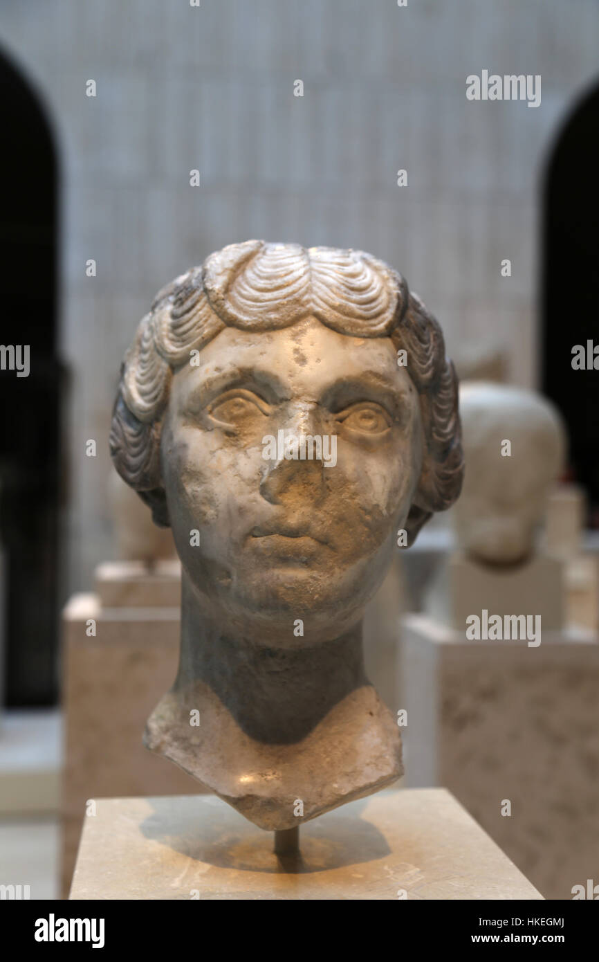 Faustina Minor (130-176. Empress consort of the Roman Empire. Wife of Marcus Aurelius. Marble 147-148. - Stock Image