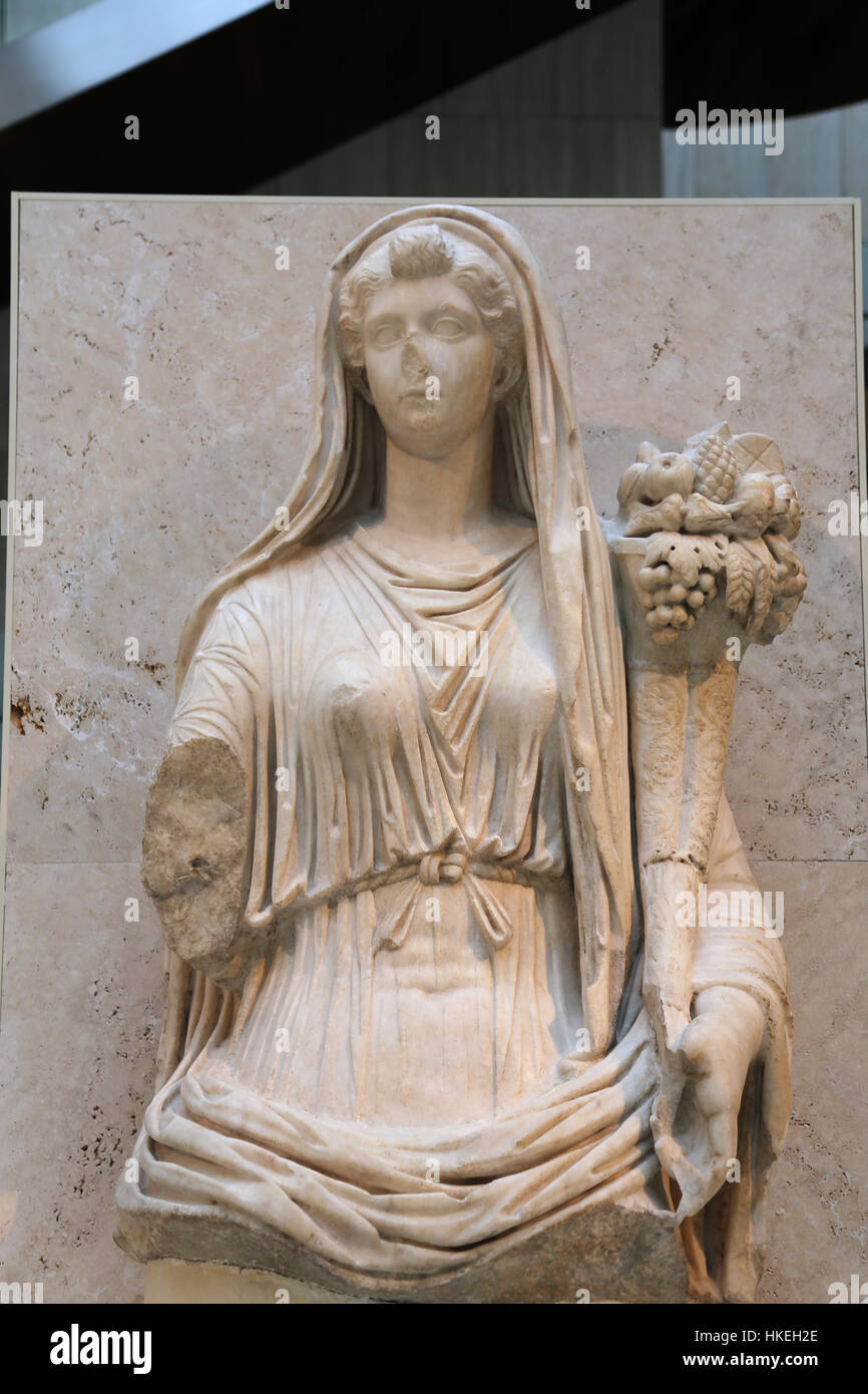 Empress consort Livia (58 BC-29 AD) as Fortuna or Copia. Marble. 20-40. Iponuba (Baena, Cordoba, Spain). - Stock Image