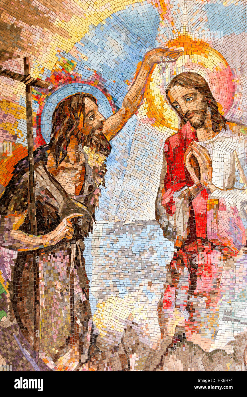 Mosaic of the baptism of Jesus Christ by Saint John the Baptist as the first Luminous mystery. - Stock Image