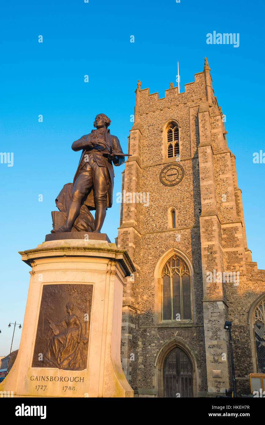 Statue of the Suffolk artist Thomas Gainsborough sited in the market square of his birthplace, Sudbury town, UK. - Stock Image