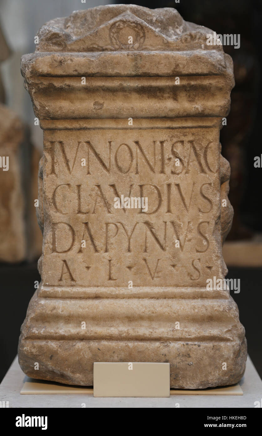 Altar stone consecrated to the goddess Juno. Marble. 1st century. Augusta Emerita, Merida, Badajoz. Spain. Stock Photo