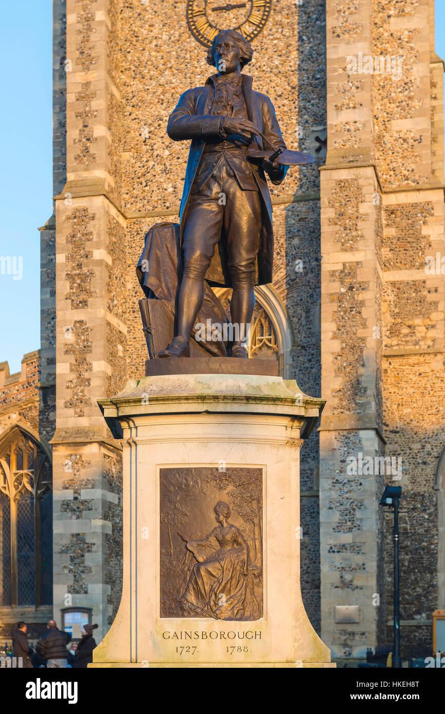 Statue of the English artist Thomas Gainsborough in Sudbury, England, UK. - Stock Image